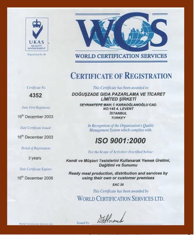 Doğuş Catering Doğuş Catering WCS Sertifikası